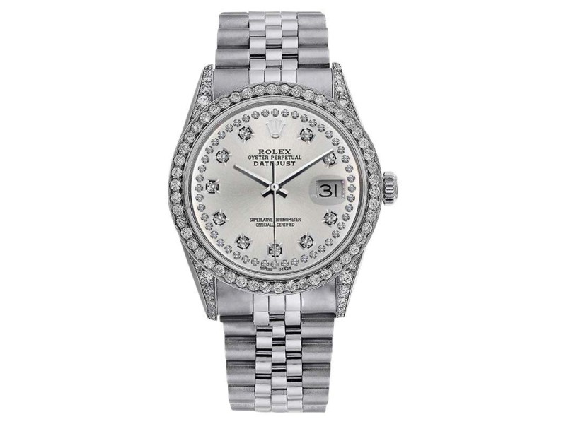 Rolex DateJust 16234 36mm Silver Dial Diamond Bezel & Lugs Watch