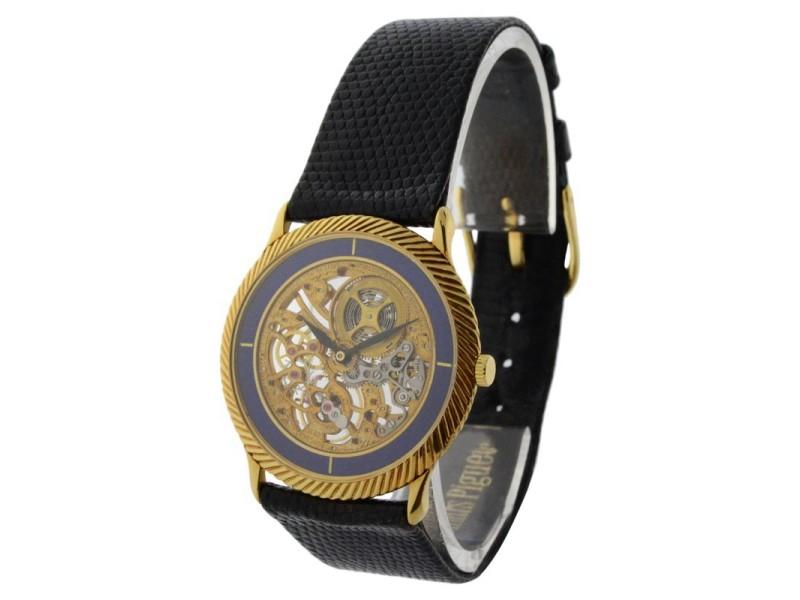Audemars Piguet Vintage Skeleton 18K Gold & Lapis Mens Watch