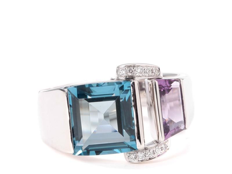 PIAGET 18k White Gold Blue Topaz Ring