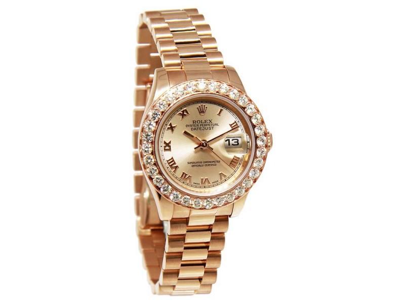 Rolex 179175 Datejust 18K Pink Rose Gold Diamond Automatic Womens Watch