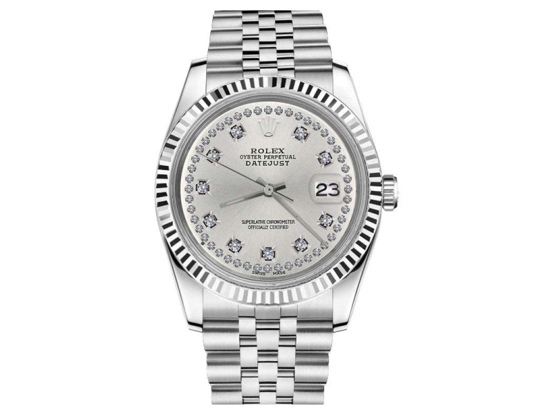 Rolex Datejust Silver Color String Diamond Accent Dial 26mm Womens Watch