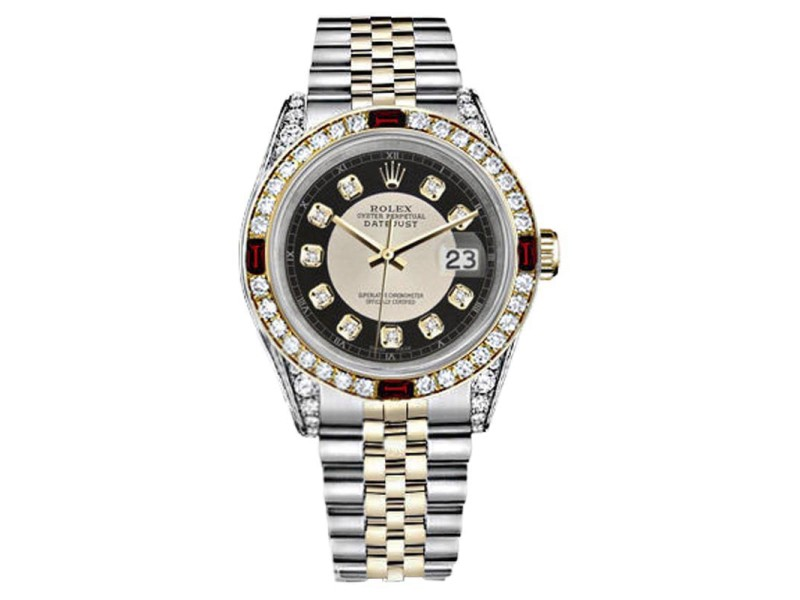 Rolex Datejust Stainless Steel/ 18K Yellow Gold With Black Tuxedo Diamond Dial 26mm Womens Watch