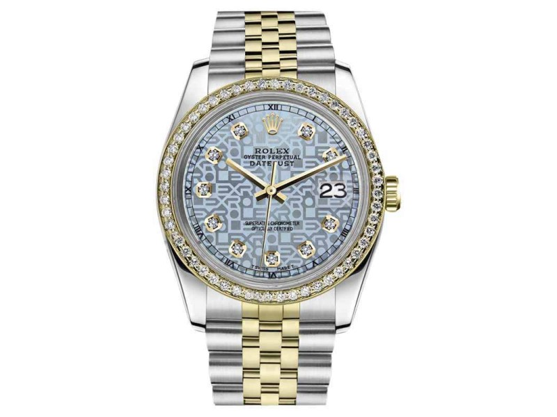 Rolex Datejust Stainless Steel/ 18K Gold w/Diamond Jubilee Ice Blue logo Jubilee 36mm Unisex Watch