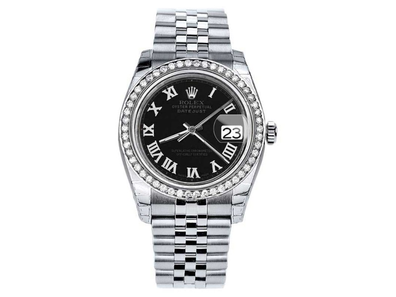 Rolex Datejust Stainless Steel w/Diamond Black Roman Numeral Jubilee 36mm Unisex Watch 2016