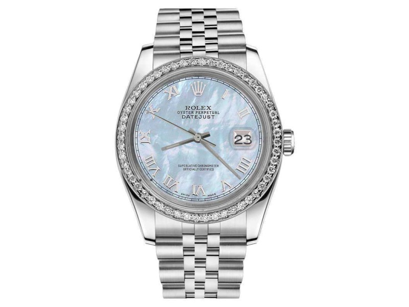 Rolex Datejust Stainless Steel Baby Blue Mother Of Pearl Roman Numeral Dial 26mm Womens Watch