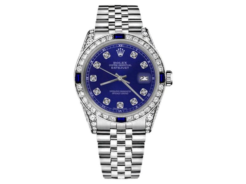 Rolex Datejust Stainless Steel Blue Dial With Sapphire & Diamonds Bezel 26mm Womens Watch