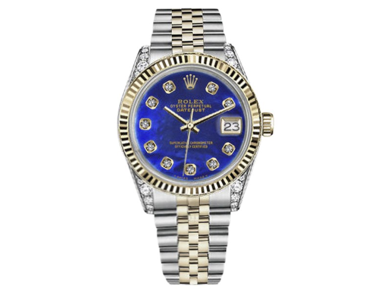 Rolex Datejust 2Tone Blue Color Treated Mother Of Pearl Diamond 36mm Unisex Watch