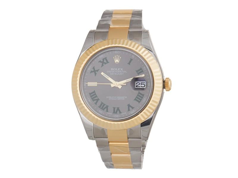 Rolex DateJust II 116333 GRO 41mm Gold & Steel Grey Dial Watch