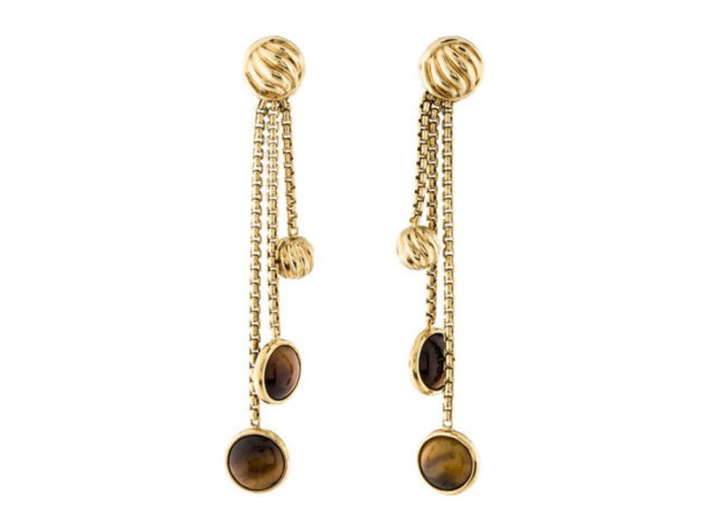 David Yurman 18K Yellow Gold Tiger's Eye Drop Dangle Earrings