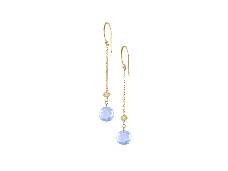 14KY Citrine Blue Topaz Coin On Chain Fish Hook Earrings