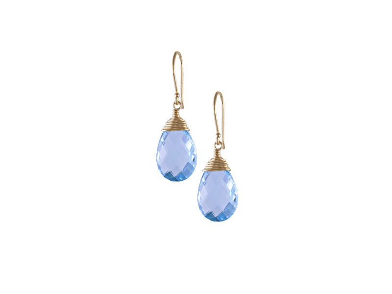 14KY Blue Topaz Pearl Wire Wrapping Capping Hook Earrings
