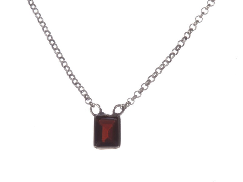 Alberto Juan Bezel Set Emerald Cut Red Garnet Necklace