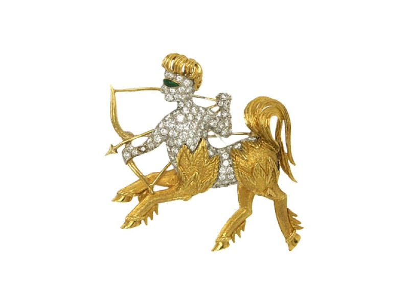 18kt Yellow & White Gold 2ctw Diamond Enamel 3D Mythical Centaur Brooch