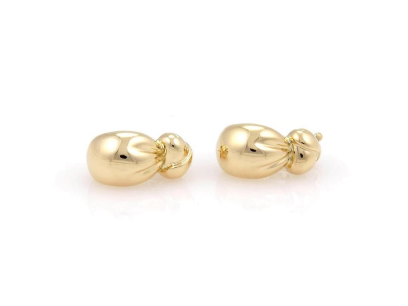 VCA Van Cleef & Arpels 18K Yellow Gold Designer Knot Drop Earrings