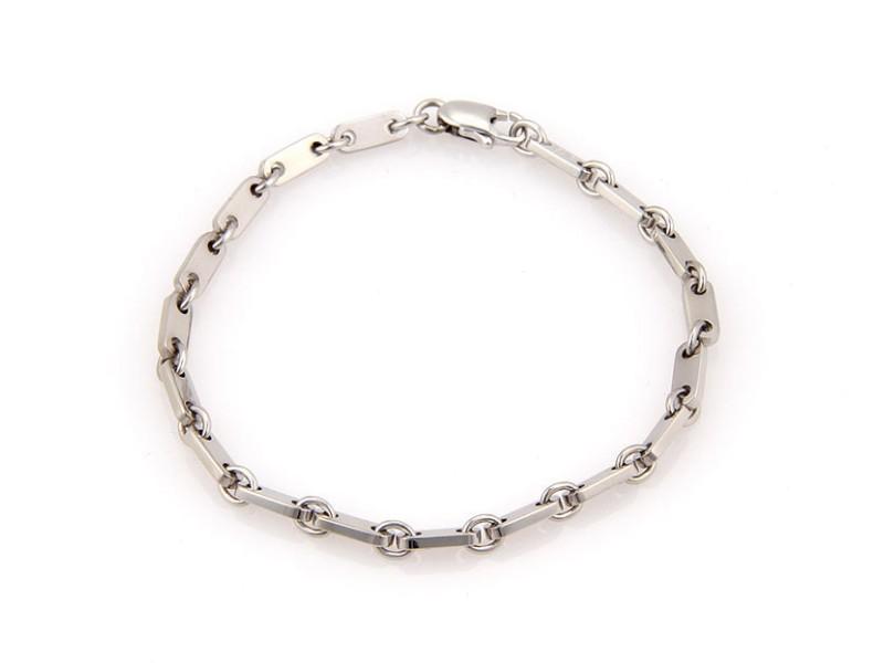 Cartier 18K White Gold Figaro Chain Link Bracelet