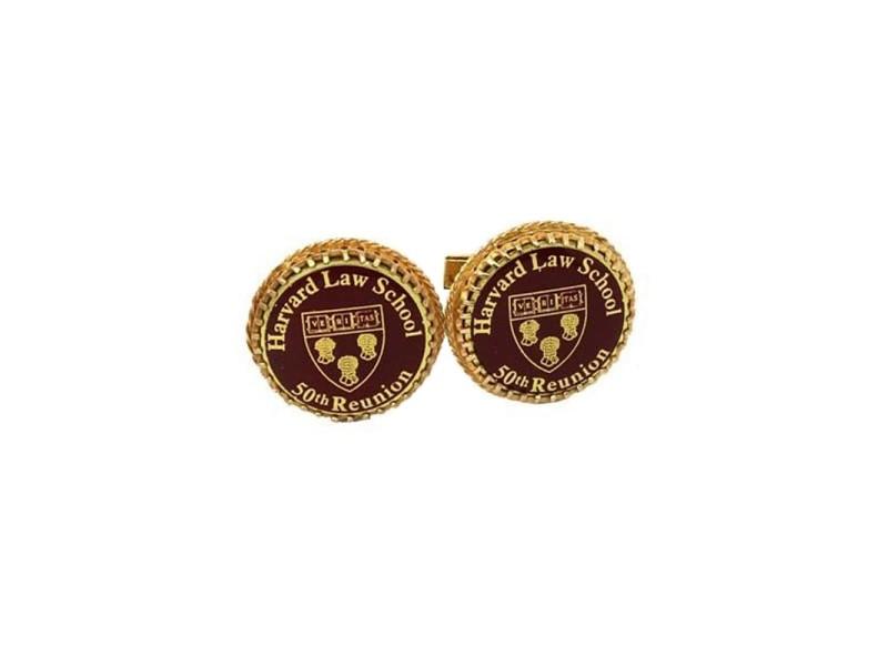 Vintage 14k Yellow Gold Harvard Law School 50th Reunion Cufflinks