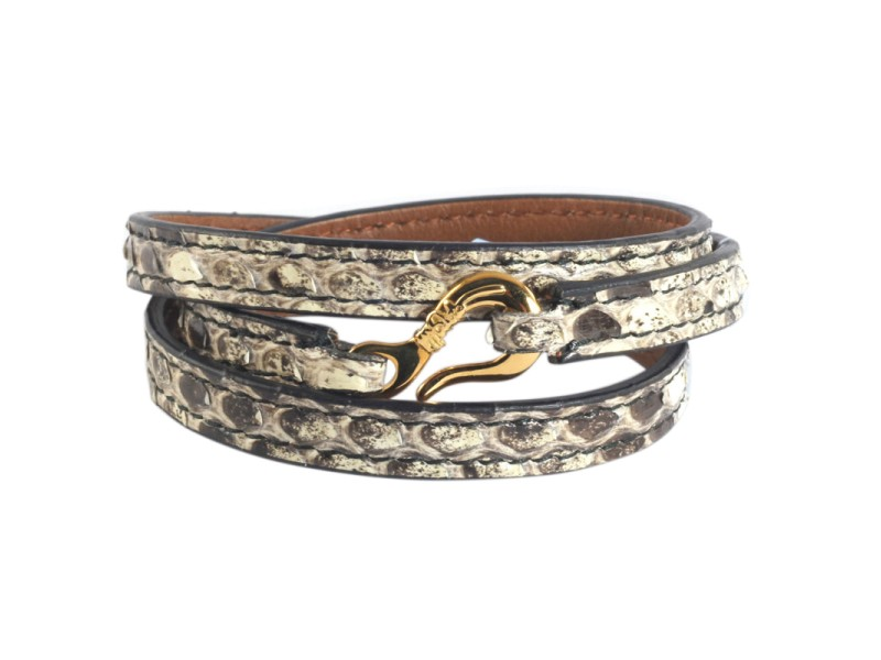Ippolita 18K Yellow Gold Hook Pelle Natural Brown Python Leather Wrap Bracelet