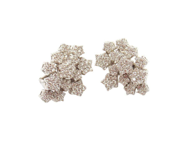 Pasquale Bruni 18K White Gold Snow Flake Diamond Pave Earrings