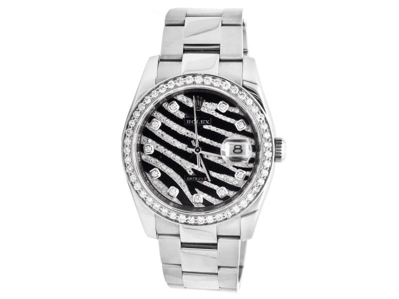 Rolex Datejust 36 MM Z Serial Zebra Dial Stainless Steel Diamond Watch