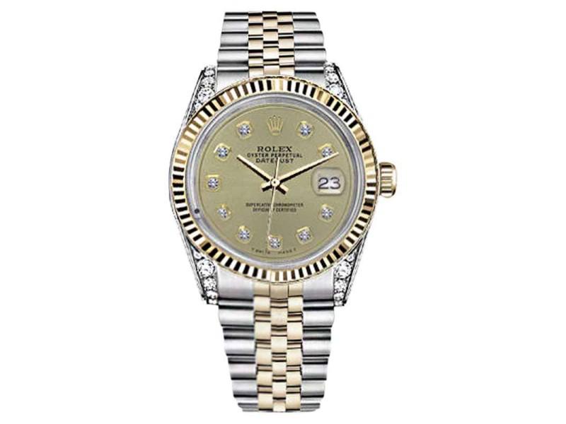 Rolex Datejust Champagne Color Diamond Accent Dial Woman's 26mm