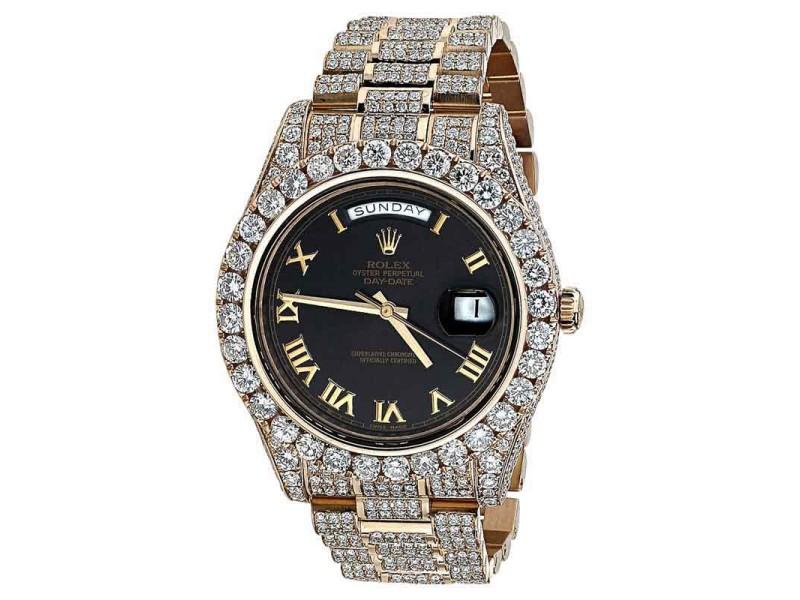 rolex 18k rose gold diamond iced out 41mm watch rolex