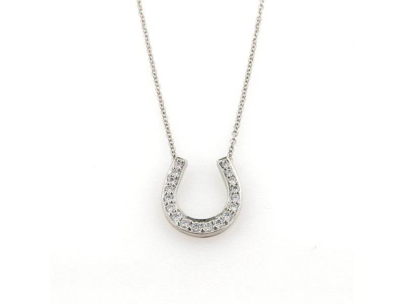 Tiffany & Co. Platinum Diamond Horse Shoe Equestrian Pendant Necklace