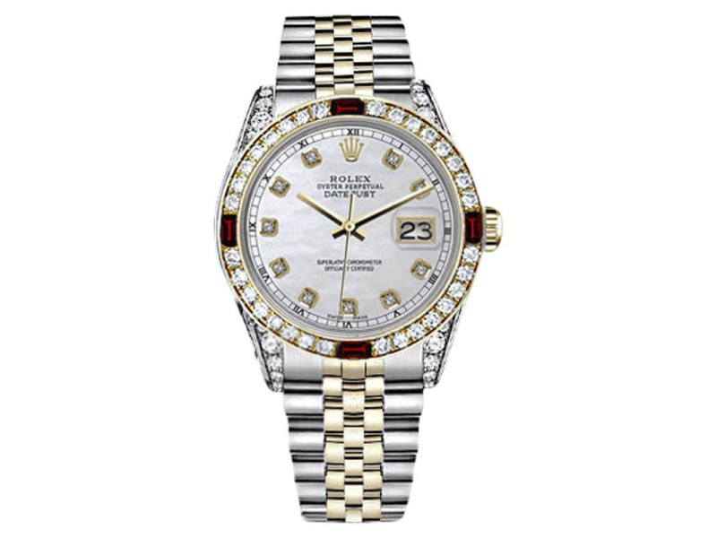 Rolex Datejust 2Tone White Mother of Pearl Accent Dial Ruby & Diamond Bezel Jubilee Womens 26mm Watch