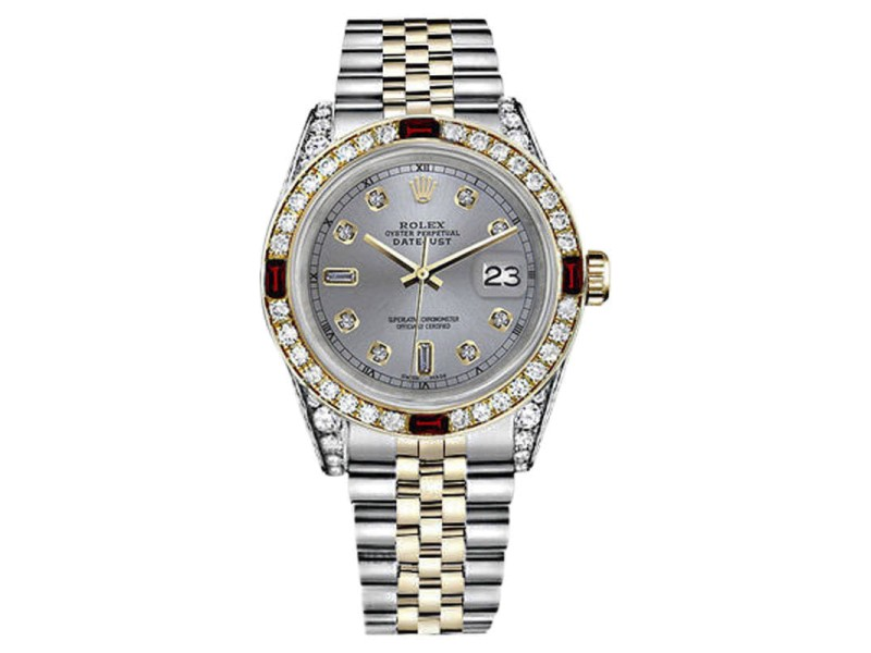Rolex Datejust 2Tone 18K/Stainless Steel Slate Grey Ruby with 8+2 Diamond Jubilee Womens 26mm Watch