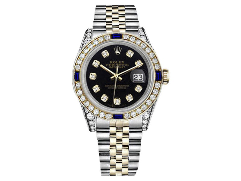 Rolex Datejust Stainless Steel/18K Gold Black Blue Sapphire Diamond Jubilee Womens 26mm Watch