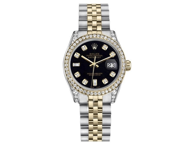 Rolex Datejust Two-Tone Steel/18K Gold Black Diamond Jubilee Womens 26mm Watch