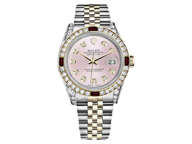 Rolex Datejust  2Tone Steel & Gold Pink Dial Ruby Diamond Jubilee Womens 26mm Watch