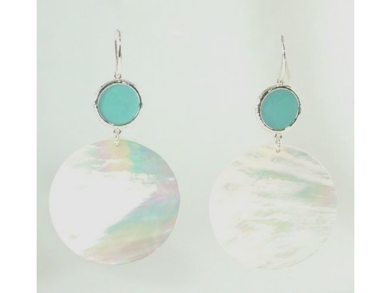 IPPOLITA Sterling Silver Mother of Pearl Turquoise Large Snowman Drop Earrings