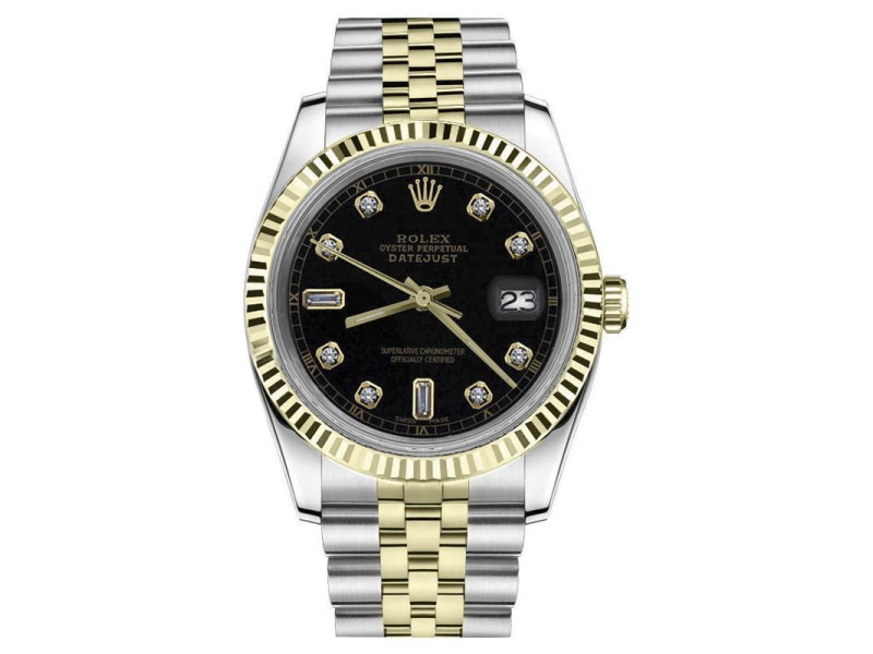 Rolex Datejust 2Tone Black Color Dial with 8+2 Diamond Accent Automatic 26mm Womens Watch