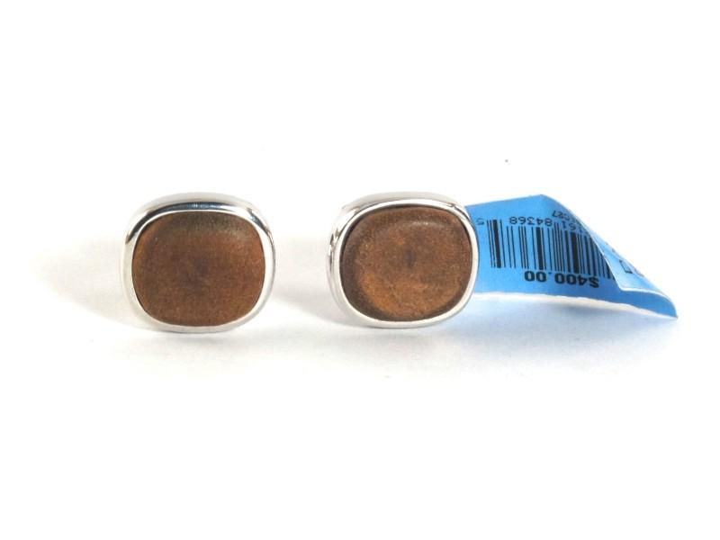 David Yurman Mens  Brown Leather .925 Sterling Silver Cufflinks