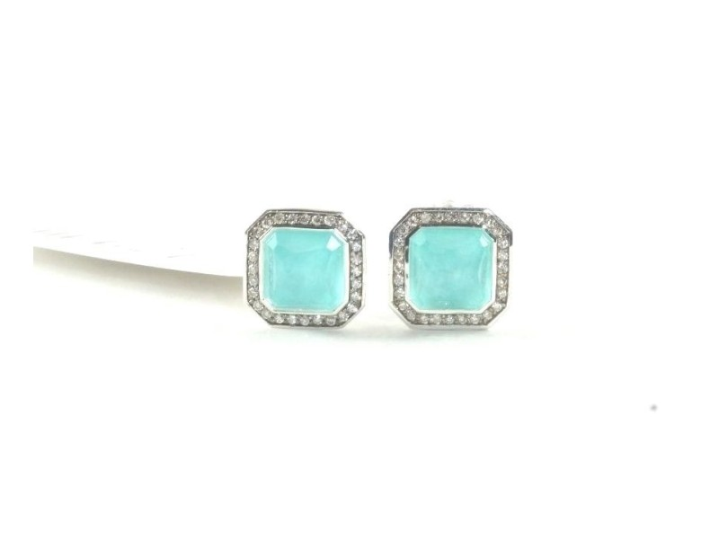 Ippolita Sterling Silver Turquoise Diamond Rectangle Stud Earrings