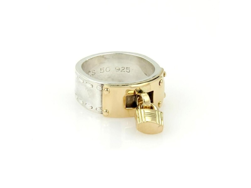 "Hermes 18K Yellow Gold & 925 Silver ""H"" Padlock Band Ring"