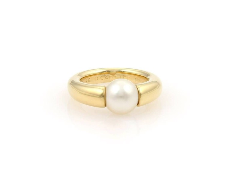 Cartier 18K Yellow Gold Cultured Pearl Ring