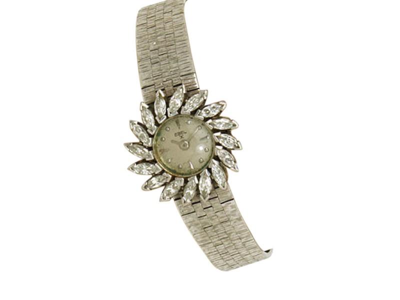 Ebel 18K White Gold & Diamond Swirl Bezel Watch