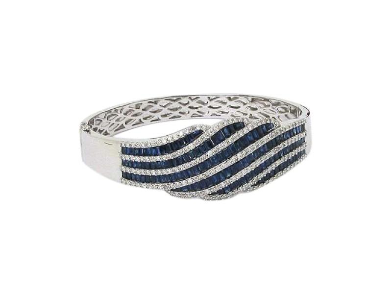 18k White Gold 18ctw Diamond & Blue Sapphire Bangle Bracelet