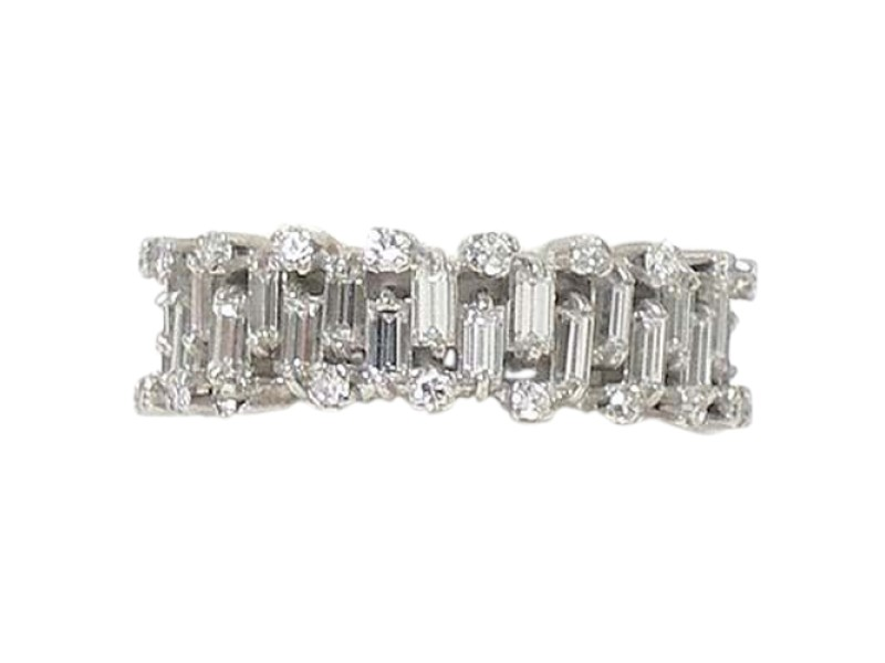 Vintage 14k White Gold 3.5ctw Baguette & Round Diamond Wide Band Ring