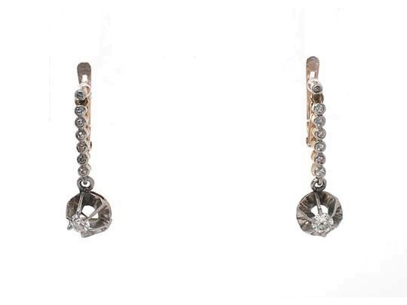 18k Two Tone Gold .70ct Old Mine Cut Diamond Long Drop Dangle Earrings