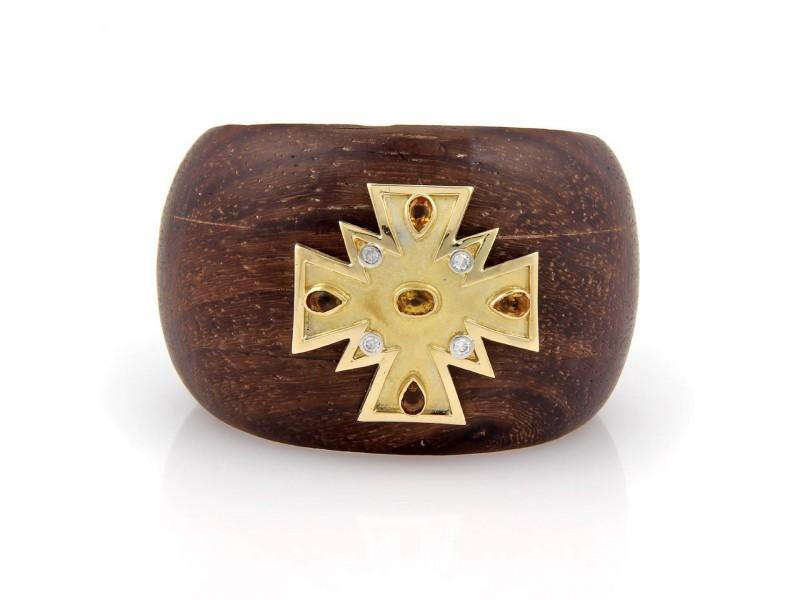 18K Yellow Gold & Wood Diamond and Citrine Bangle Cuff Bracelet