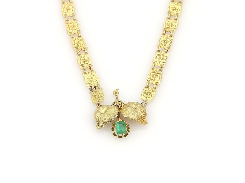 Victorian Emerald 14K Yellow Gold Flower & Leaf Pendant Floral Link Necklace