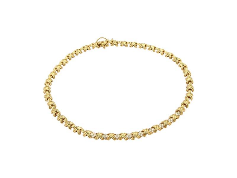 Tiffany & Co. 18K Signature X Diamond Collar Necklace