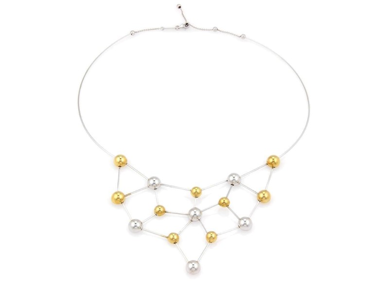 Chimento 18K Two Tone Fine Polished Chocker Bead Necklace