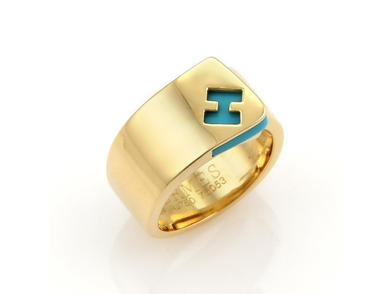 Hermes 18K Yellow Gold Turquoise Logo H Band Ring