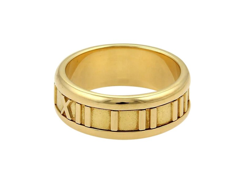 Tiffany & Co. 18K Yellow Gold Atlas Roman Numeral Band Ring