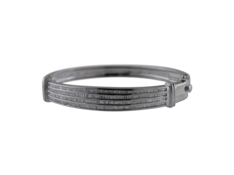 14K White Gold Channel Set Baguette Diamond Bangle Bracelet