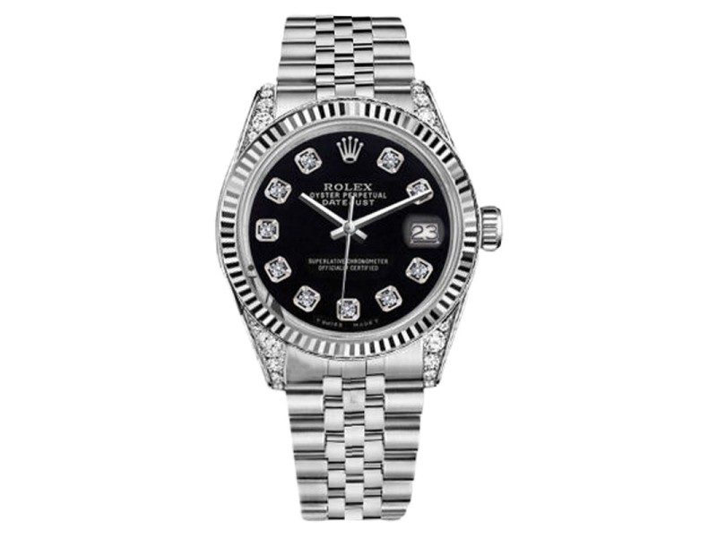 Rolex Datejust Black Color Dial with Diamonds Womens 26mm Watch