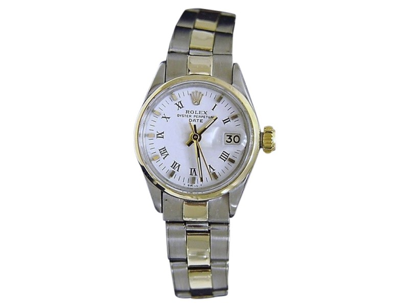 Rolex Date 6517 14K Yellow Gold & Stainless Steel With White Roman Dial Vintage Womens Watch